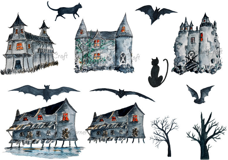 watercolor haunted house, castle, old house, Halloween clipart, grey building, scary building