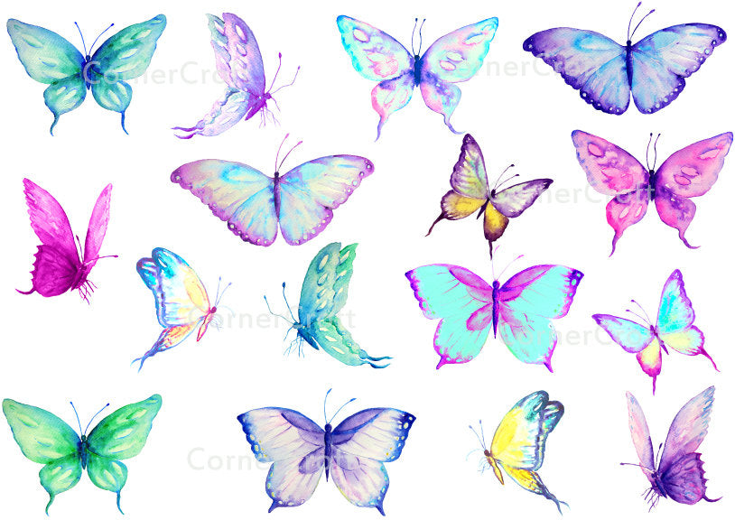 blue, purple, yellow butterflies for digital download.