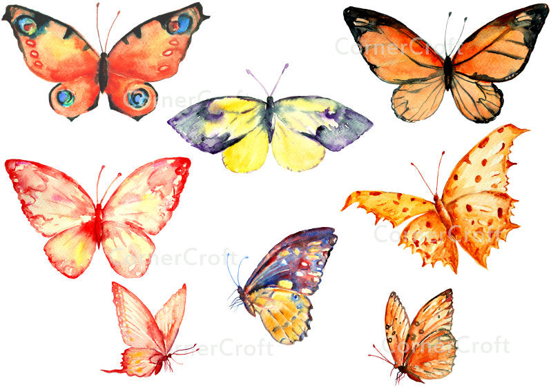 watercolor clipart, orange butterfly, yellow butterfly, butterfly clipart, corner croft clipart