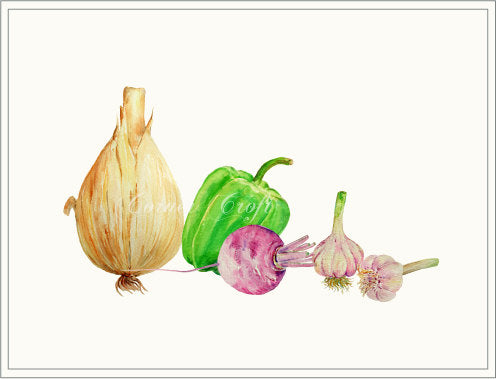 Watercolour vegetables onion, garlic, sweet pepper, turnip, vegetable