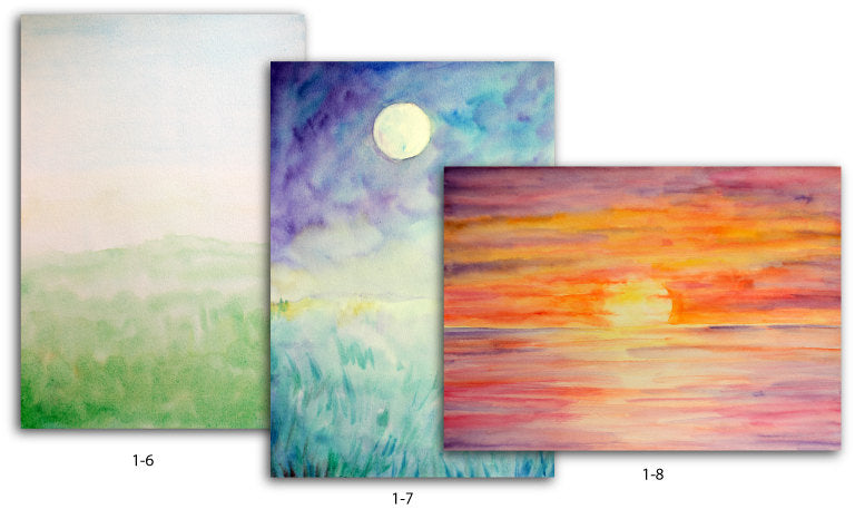 watercolour nature background, landscape, sunset, grassland, moonlight, instant download