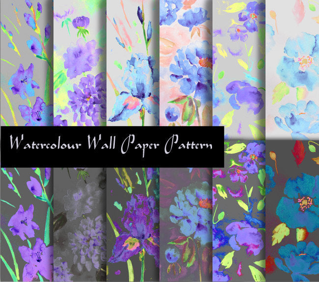 dark blue and purple themed watercolor floral patterns, The flowers includes Iris, poppy, daisy and peony