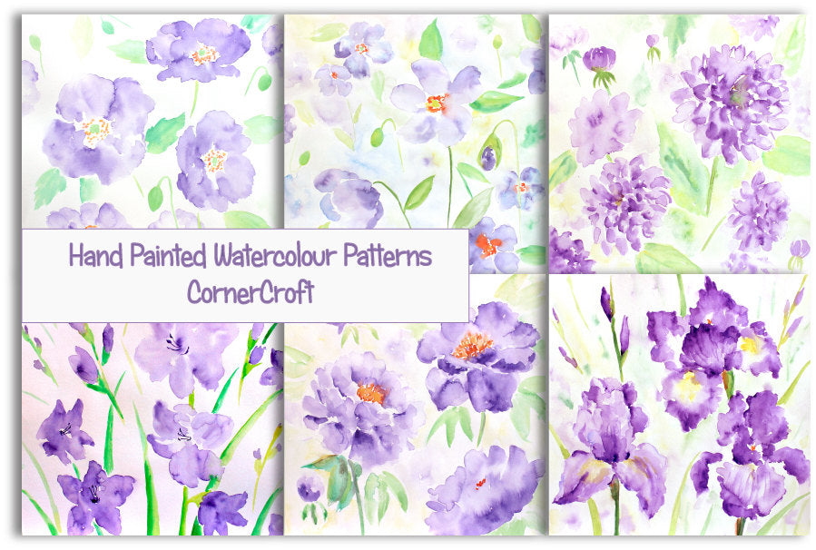 hand painted watercolor pattern, blue and purple flowers, floral pattern, 12 inch x 12 inch
