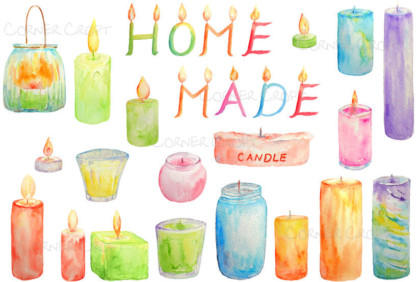 Watercolor clipart scented candles letter candles printable instant download for scrapbook, shop logos