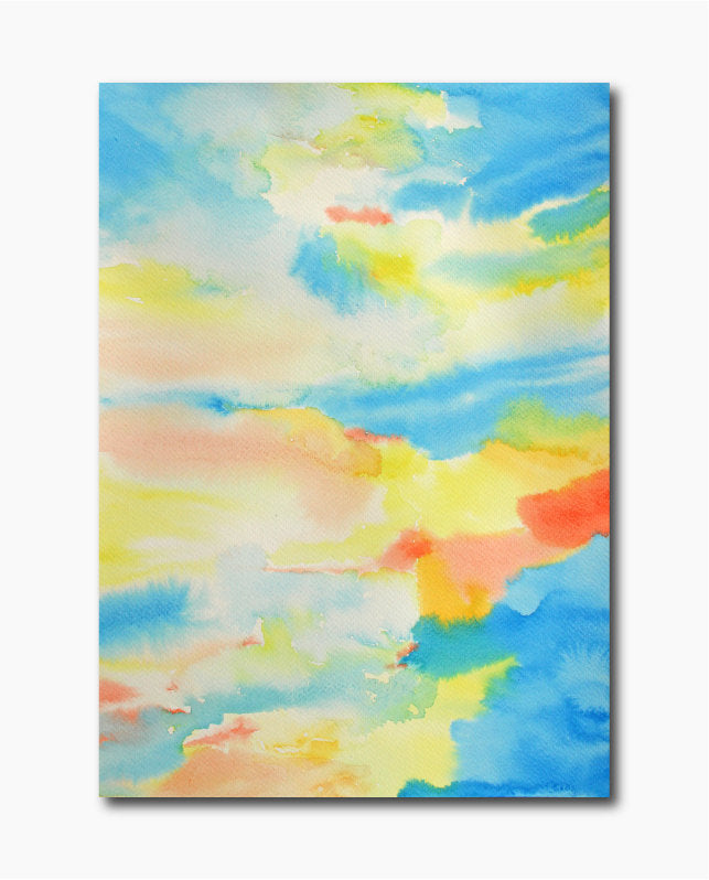 6 individual hand painted abstract watercolor paintings for instant download. The are bright yellow, blue and red large abstract watercolor paintings.