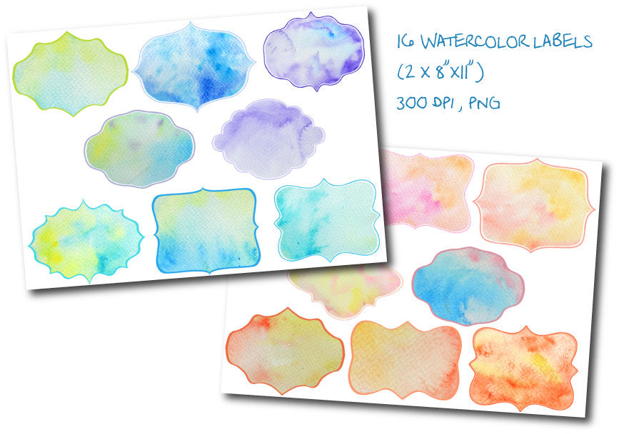 watercolor gift tag, watercolour template, watercolor texture label