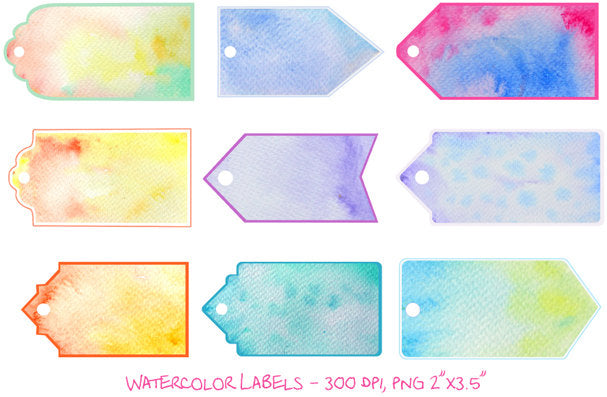 watercolor texture tag, label, gift tag