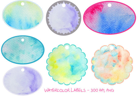 watercolor texture tag, label, gift tag, template