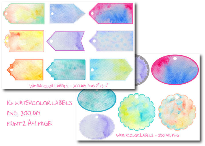 watercolor texture, gift label, gift tab, watercolor background