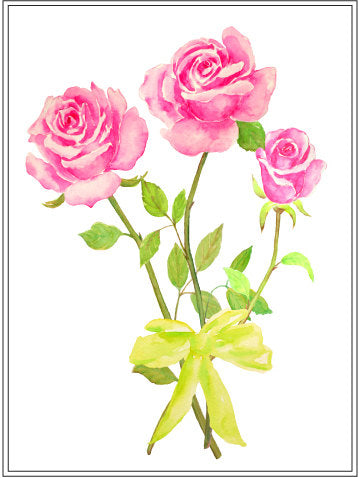 watercolor rose cut flower, rose illustration, logo design, florist,