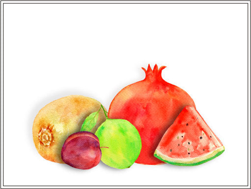 Fruit illustration watercolor clipart of fruit, banana, pomegranate, kiwi fruit, watermelon, lime, plum