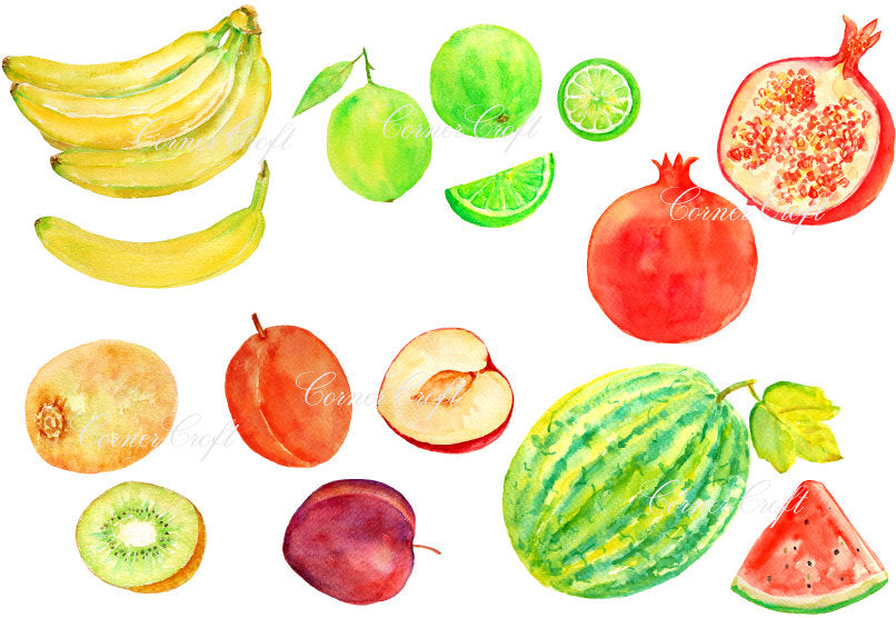 watercolor clipart of fruit, banana, pomegranate, kiwi fruit, watermelon, lime, plum