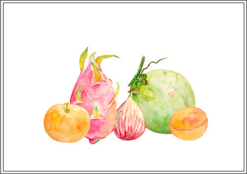watercolor clipart of fruit, dragon fruit, topical fruit, fig, coconut , apricot, fig, orange