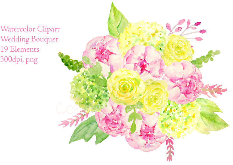 watercolor wedding bouquet, watercolor clipart
