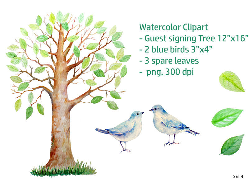 watercolor guest signing tree, large guest signing tree, blue birds, blue bird, bird illustration