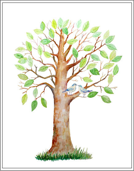 large watercolor guest signing tree, oak tree, instant download