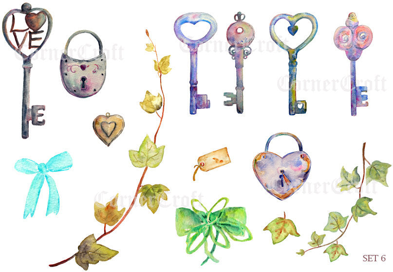 watercolor rustic lock and key, ivy leaf, wedding clipart