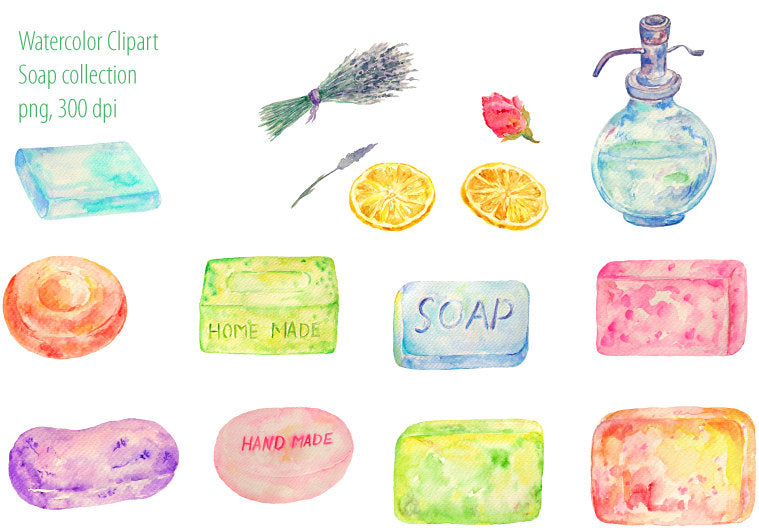 watercolor soap clipart, home made soap element, instant download