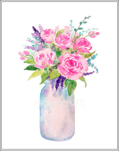 watercolor rose, pink rose, yellow rose, purple rose, watercolor clipart, mason jar illustration