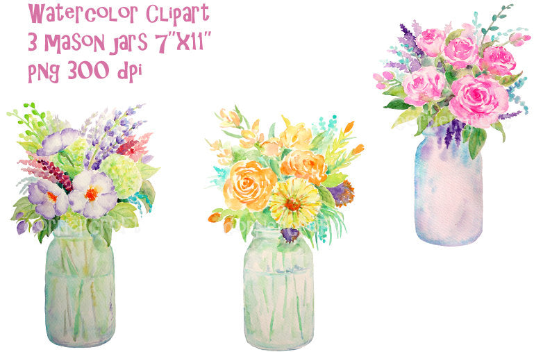 Mason jar rose, vase of rose, watercolour clipart, instant download