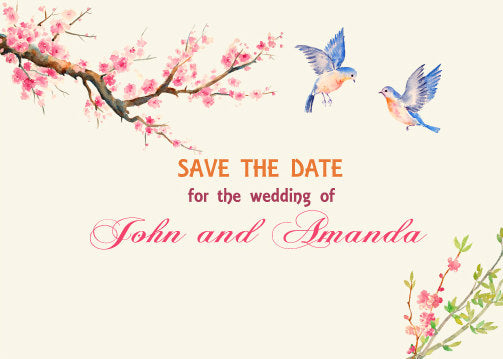 watercolor wedding clipart, cherry blossom and blue bird
