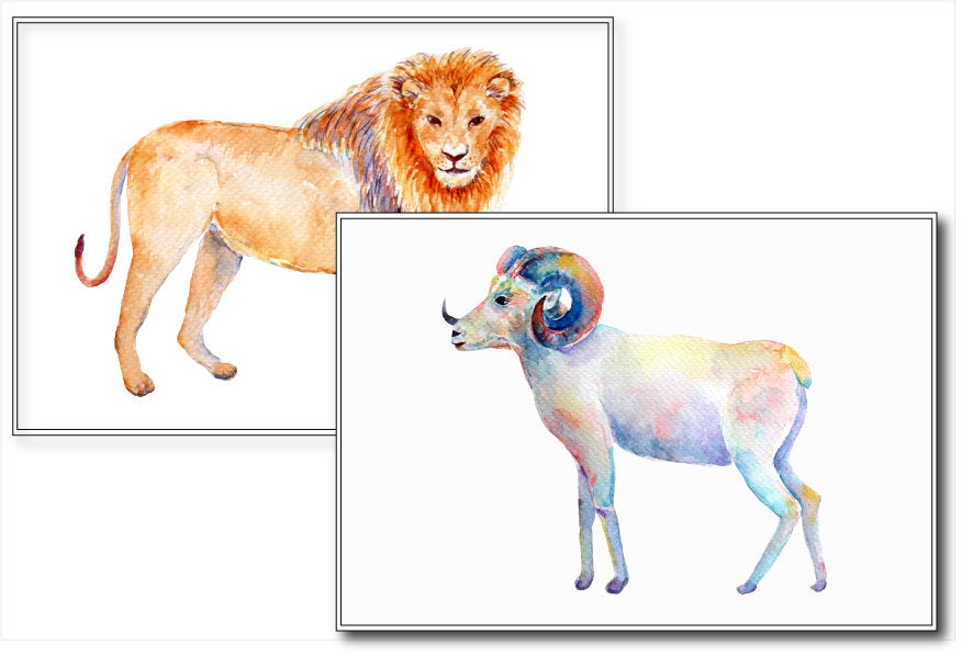 watercolor Astrological signs (zodiac signs, horoscopes), animals and figures, for instant download