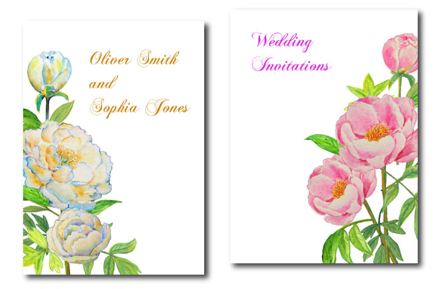watercolor pink and yellow peony clipart, wedding clipart, wedding invitation graphics