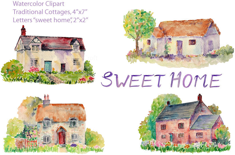 Watercolor Clipart, English cottage, traditional cottage, old house.