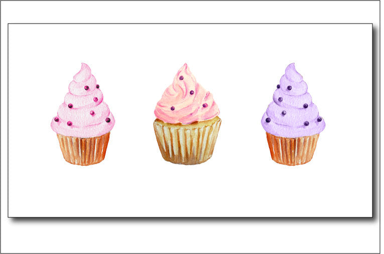watercolor clipart cupcake, cup cake illustration, pink and purple cupcakes, hearts