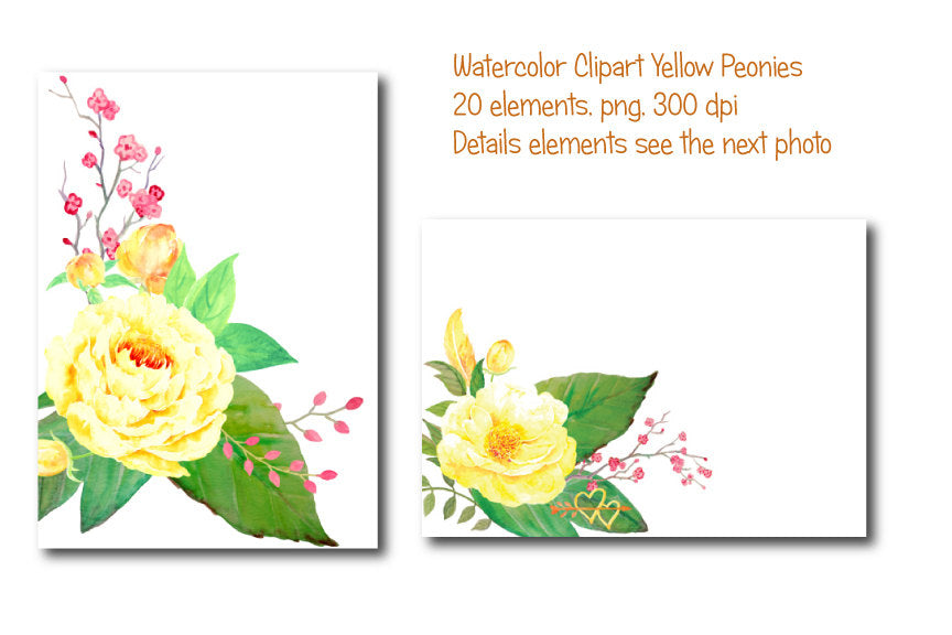 boho clipart, wedding clipart, watercolor yellow flower instant download