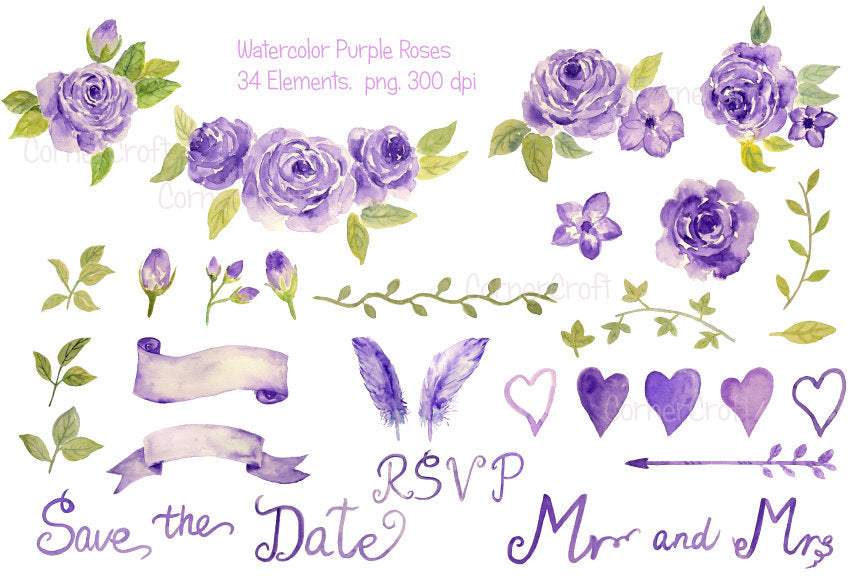 watercolor wedding clipart, wedding roses, purple rose, wedding invitation
