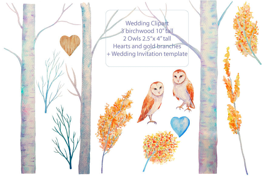 watercolor wedding clipart, barn owls, wedding invitation template
