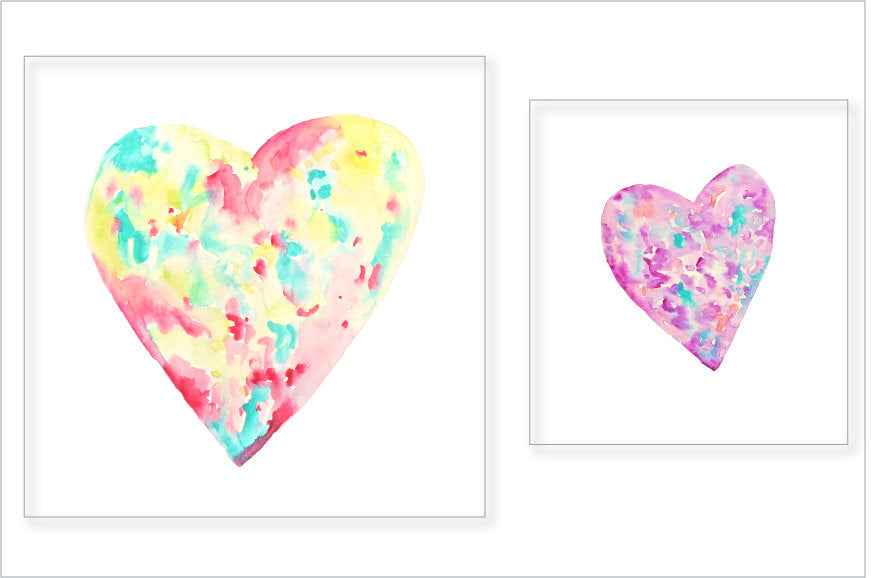 watercolor abstract heart clipart, heart illustration