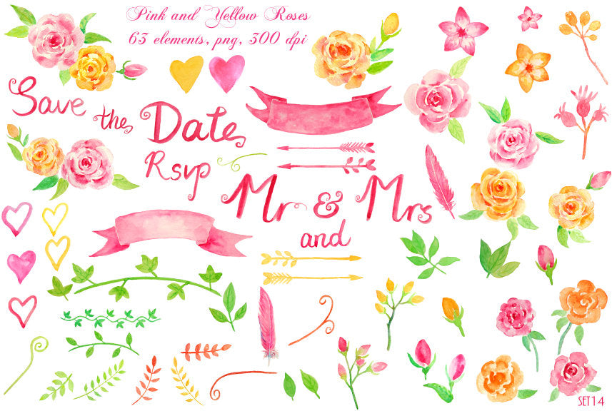 watercolor wedding clipart for wedding, pink rose, peach rose, banner