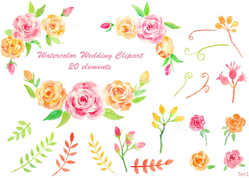 watercolor wedding clipart, orange and pink roses, instant download