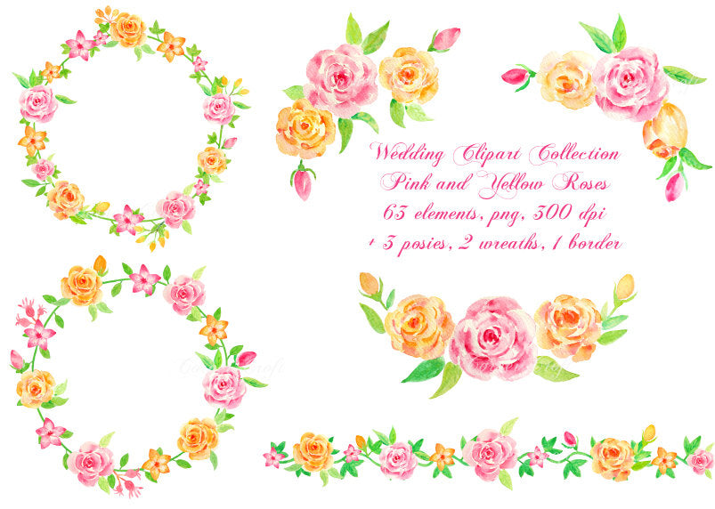 watercolor rose collection, wedding invitation clipart