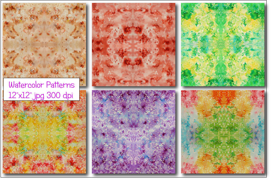 watercolor seamless boho pattern, instant download