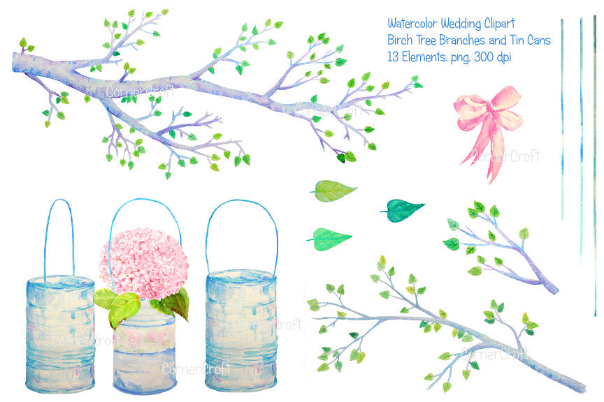 watercolor clipart birch tree branch and tin cans for instant download