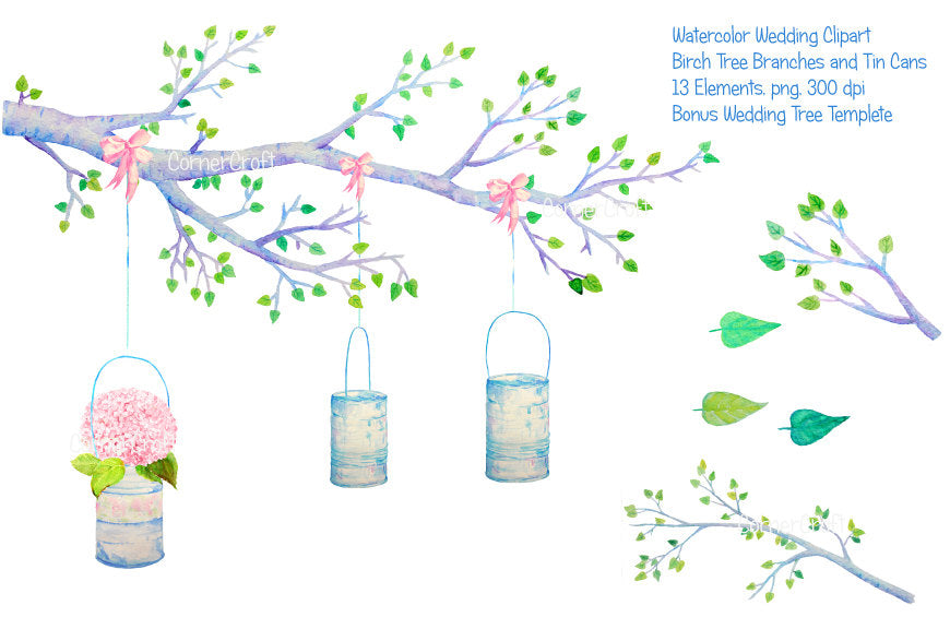 wedding invitation, watercolor birch tree and tin cans