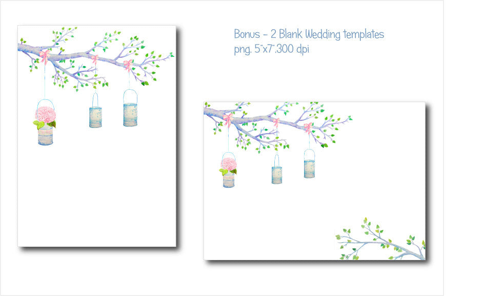 watercolor wedding invitations, blank cards, watercolor clipart