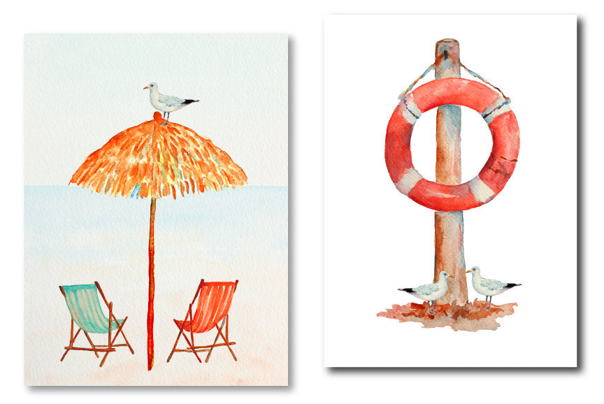 Watercolour clipart - Watercolor lighthouse, seagull, fishing boats, compass, beach hut, parasol, beach chairs