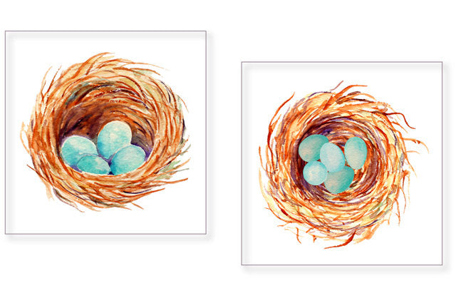 Hand painted watercolor birds - blue bird, chicks, bird nest with eggs, empty bird nest, eggs and tree branches, bird family for instant download