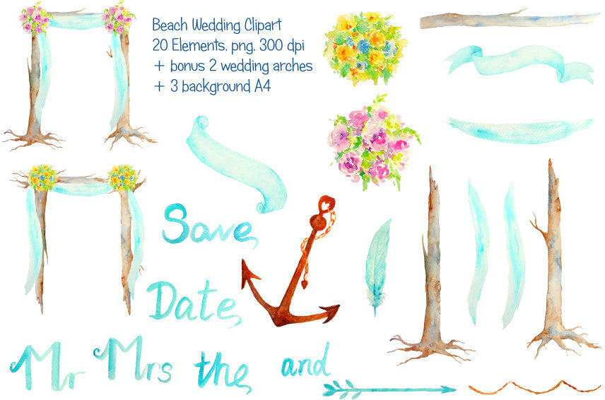 Hand Painted Watercolour Beach Wedding Arch clipart for instant download.