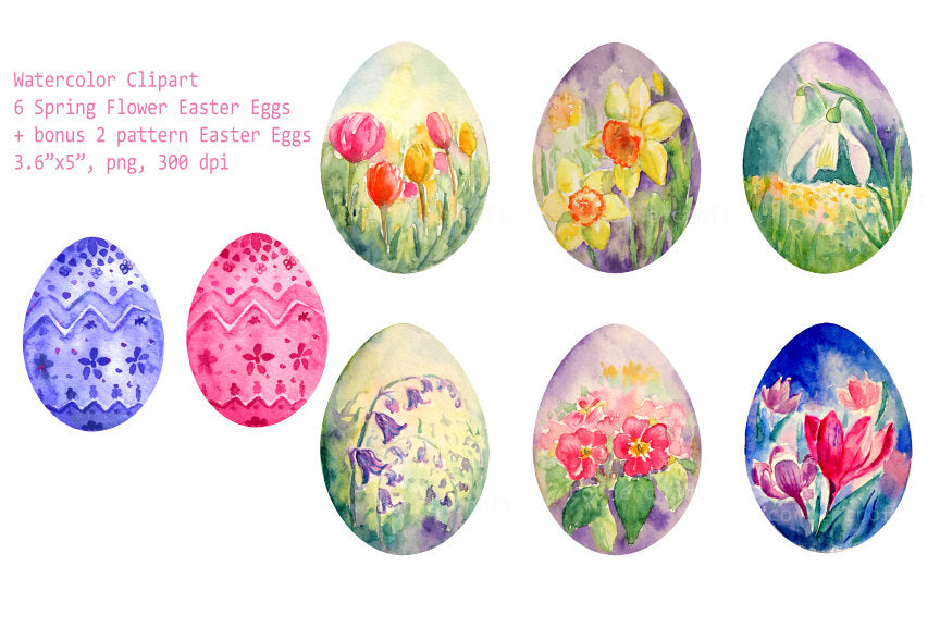 watercolor easter clipart, spring flower eggs