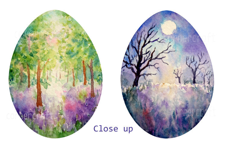 watercolor Easter egg clipart, landscape painting on eggs