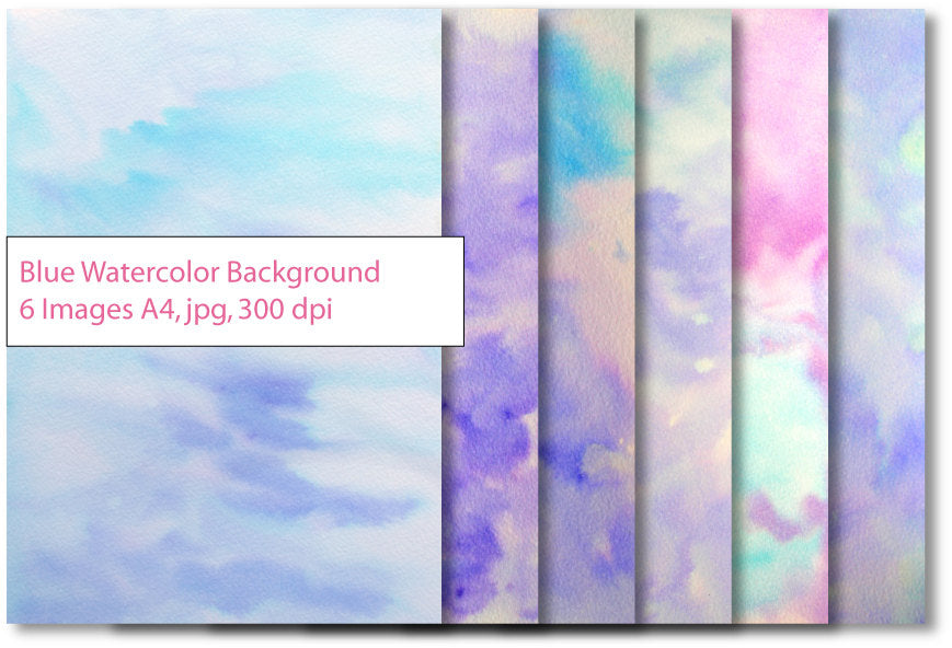 watercolor texture, digital download, digital paper, A4, blue, purple, pink, scrapbook