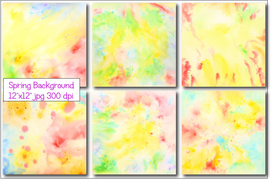 watercolor texture spring yellow and green themed large abstract watercolor background