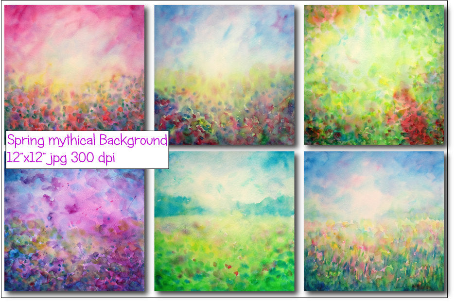 hand painted abstract watercolor spring mythical themed landscape background