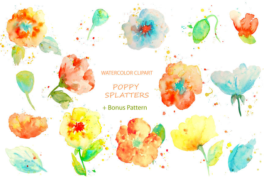 watercolor poppy clipart with paint effect