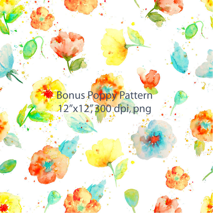 watercolor poppy pattern, abstract poppy pattern